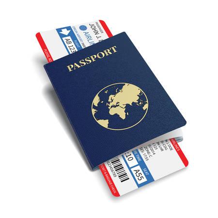 Boletos vectorial aerolínea de pasajeros y equipaje de la tarjeta de embarque con código de barras y el pasaporte internacional Ilustración de vector