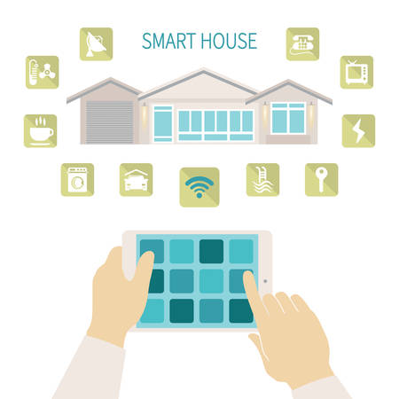 Vector illustration smart house remote wireless management concept with tablet pc Vector