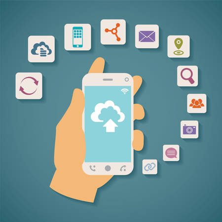 remote access: Vector concept of cloud services on mobile phone such as storage, computing, search, photo album, data exchange  With colorful icons or web buttons around mobile device  Illustration