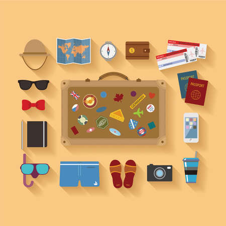 Vector modern flat style icons set for tourism industry, travelling on airplane, planning summer vacations  Vectores