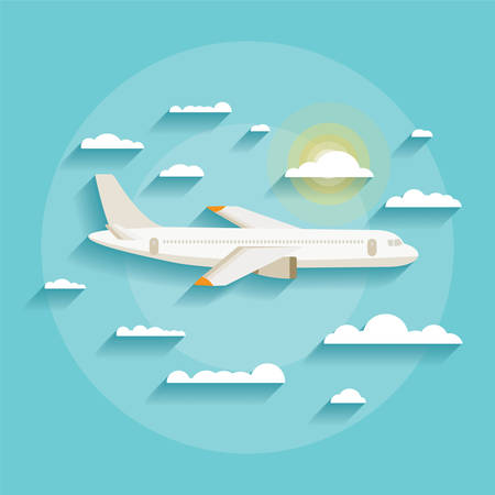 Vector illustration concept of detailed airplane flying through clouds in the blue sky in modern flat design  Isolated on stylish background