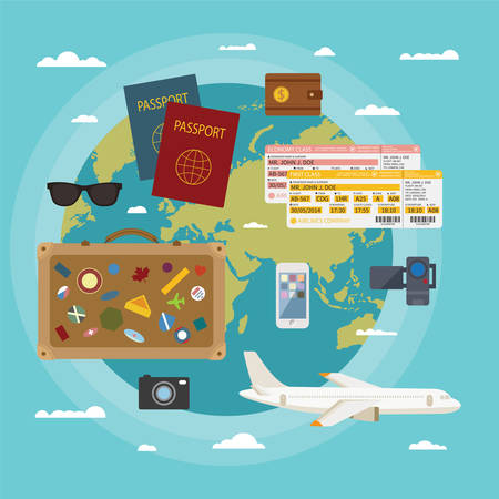 Vector modern flat style concept for tourism industry, travelling on airplane, planning summer vacations  Illustration