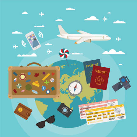 ticket icon: Vector modern flat style concept for tourism industry, travelling on airplane, planning summer vacations  Illustration