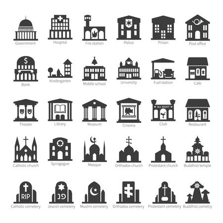 Common buildings and places like government police hospital church cafe bank restaurant theater cinema fuel station night club temple sinagogue cemetery vector icon set Vector