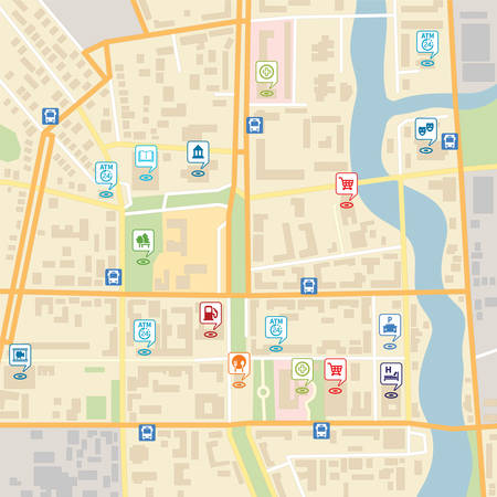 Vector city map with pin location pointers of services like hotel, hospital, supermarket, restaurant, park, shop, bus stop, library, theatre, cinema, garage or car parking  Illustration