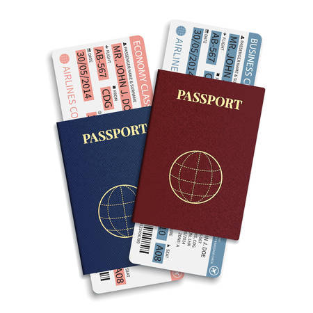 first class: Vector airline passenger and baggage   boarding pass   tickets with barcode and international passport
