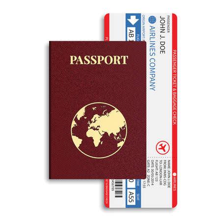 Vector luchtvaartmaatschappij passagiers en bagage boarding pass tickets met barcode en internationaal paspoort