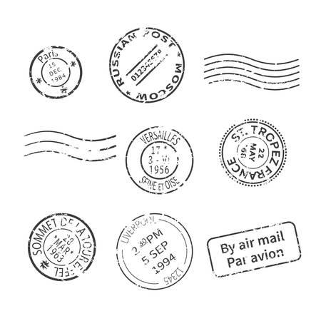 전세계 국가와 도시에서 빈티지 스타일 게시물 우표의 벡터 설정