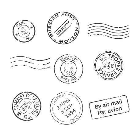 Vector set of vintage style post stamps from countries and cities around the world Çizim