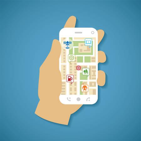 Vector illustration concept of man holding smartphone in hand with gps navigation  Ilustração