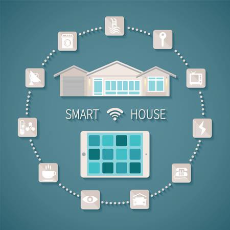 Ilustración vectorial casa inteligente concepto de gestión a distancia inalámbrico con tablet pc