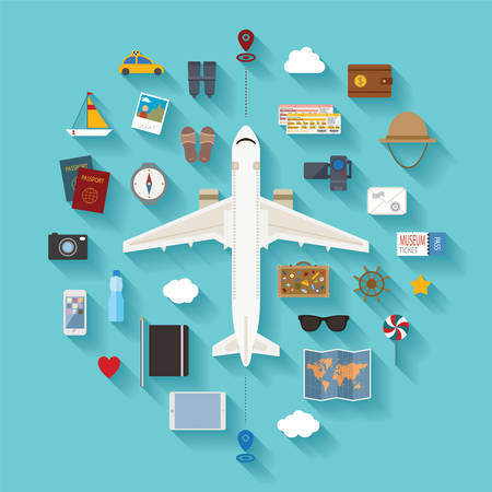 Vector modern flat style icons set for tourism industry, travelling on airplane, planning summer vacations  Illustration