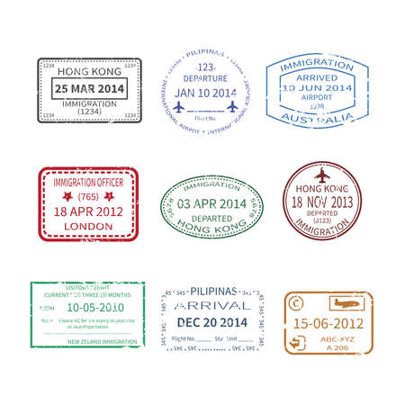 australia stamp: Vector international business and vacations travel visa stamps set like hong kong australia london new zeland and philippines