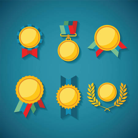 honorable: Set of vector golden awards for rewarding ceremony decoration and distinction