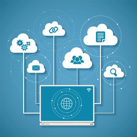 무선 클라우드 네트워크 및 분산 컴퓨팅의 벡터 개념 스톡 콘텐츠 - 30639909
