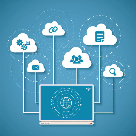 cloud: Vector concept of wireless cloud network and distributed computing