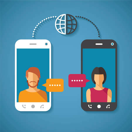 Vector concept of world global communication with long distance Illustration