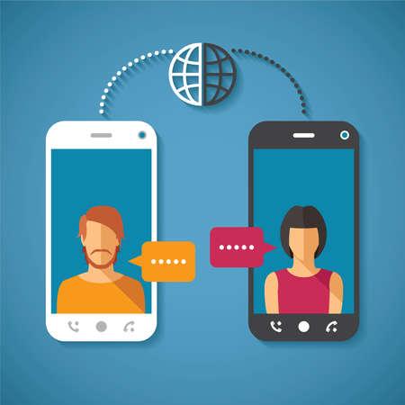 conversaciones: Vector concepto de comunicación global con el mundo de larga distancia