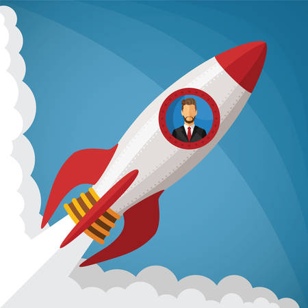 Vector startup business concept with businessman in space rocket window Vector