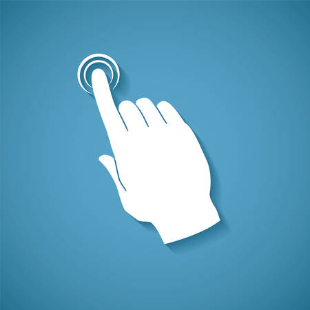 Vector touch screen concept with human palm and index finger pointing or pressing virtual button