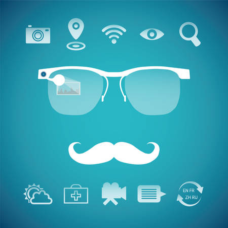 translator: Vector concept of virtual mobile pc glasses functions like gps first aid search weather forecast photo video messenger translator and wireless internet Illustration