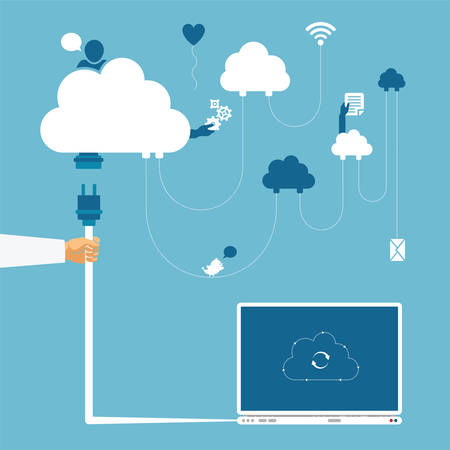 data storage: Vector concept of wireless cloud network and distributed computing