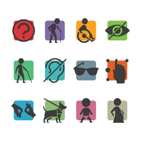 Vector colorido conjunto de iconos de los signos de acceso para personas con discapacidad física como sordomudo ciego y en silla de ruedas