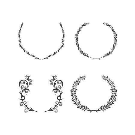 Set of vector black and white circular foliate wreaths for award achievement heraldry and nobility Vector