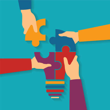 Vector concept of creative teamwork with light bulb puzzle and human hands Ilustração