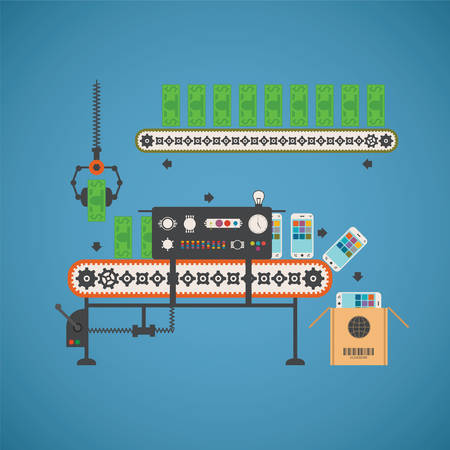 Vector concept of fund investment with smartphones and notes on conveyor line