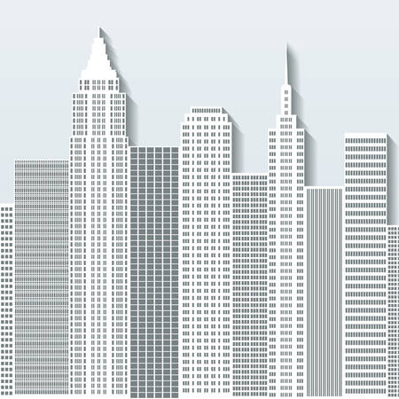 residental: Modern cityscape vector illustration with office buildings and skyscrapers. Part A. Illustration