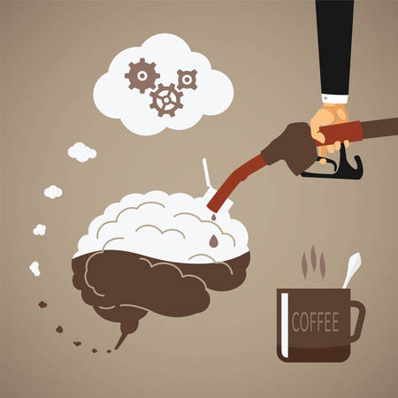 refuel: Vector concept of vigorous mind with coffee or caffeine Illustration