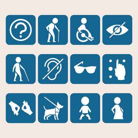 discapacidad: Vector colorido conjunto de iconos de los signos de acceso para personas con discapacidad física como sordomudo ciego y en silla de ruedas Vectores