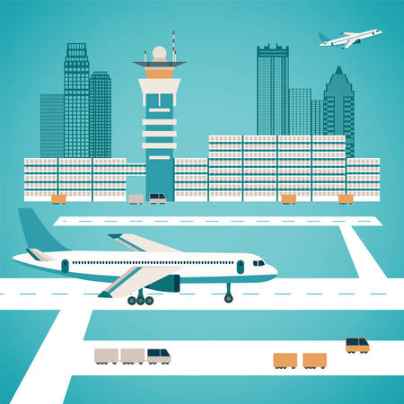 airport business: Vector airport concept with aircraft luggage transporter buildings and runway Illustration