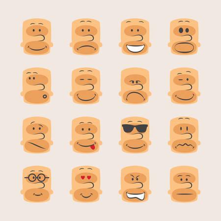 caras emociones: Vector conjunto de iconos de caras sonrientes estado de �nimo y las emociones expresi�n