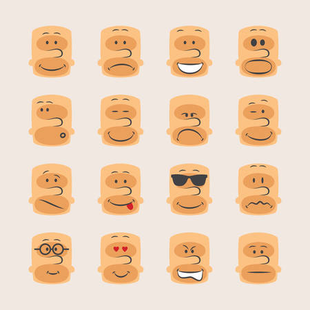 wicked set: Vector icon set of smiley faces emotions mood and expression Illustration