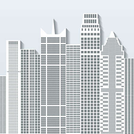 residental: Modern cityscape vector illustration with office buildings and skyscrapers. Part B.