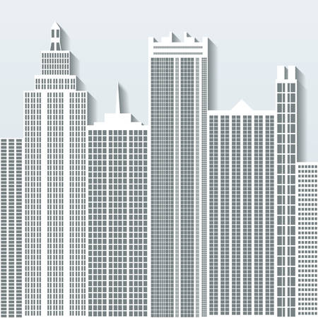 multistorey: Modern cityscape vector illustration with office buildings and skyscrapers. Part C. Illustration