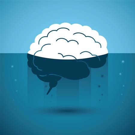 Human brain in strange liquid. Vector concept. Vector