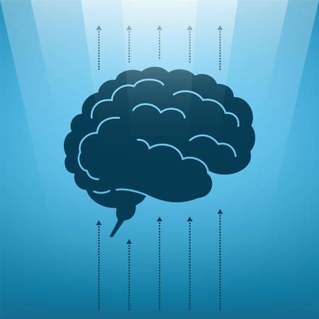 levitate: Vector concept of soaring human brain