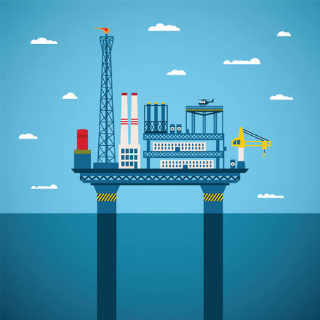 Vector concept of oil and gas offshore industry with stationary platform Vector