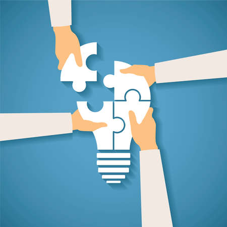 puzzle: Vector concept of creative teamwork with light bulb puzzle and human hands Illustration