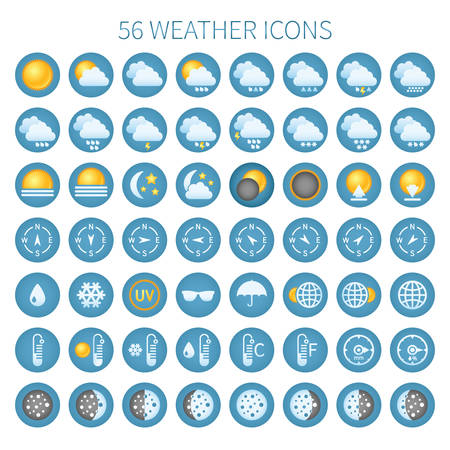 day forecast: Vector weather icon set for widgets and sites.