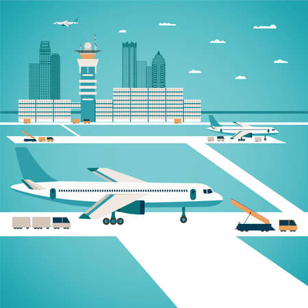 Vector airport concept with aircraft luggage transporter buildings and runway Illustration
