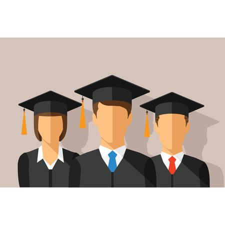 birrete de graduacion: Vector concepto de educación con los estudiantes en traje de graduación y birrete Vectores
