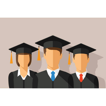 gowns: Vector education concept with students in graduation gown and mortarboard