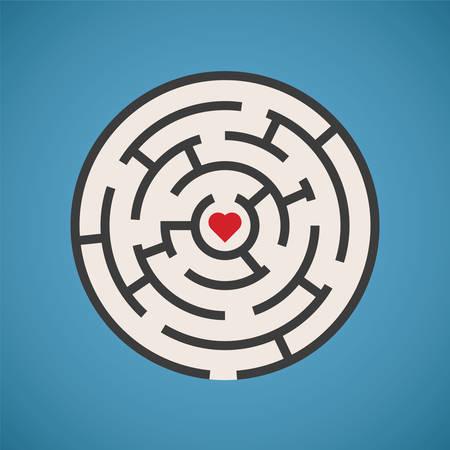 secret love: Vector heart shape maze concept