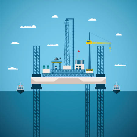 Vector concept of oil and gas offshore industry with platform on unstable legs