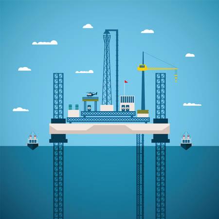 Vektor-Konzept der Öl-und Gasindustrie mit Offshore-Plattform, auf instabilen Beinen