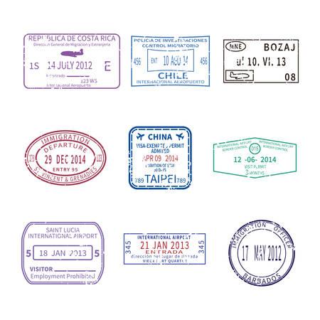 passaporto: affari e vacanze viaggio francobolli internazionali per set passaporto Vettoriali